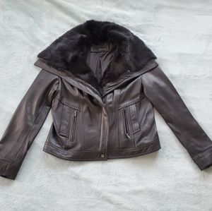 Part 1 Wilsons Leather: fur collar leather jacket